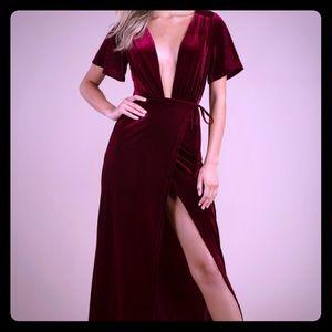 Tobi Deep Plunge maxi dress